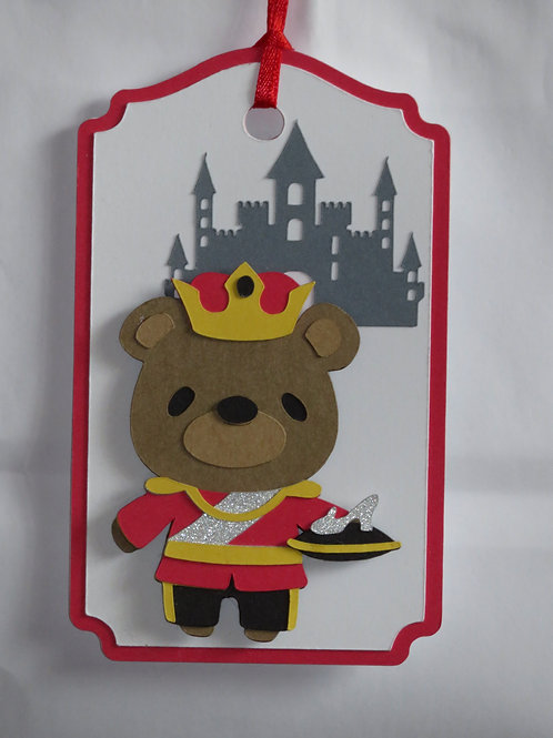 Prince Charming Bear with Slipper Gift Tag