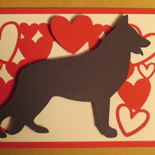German Shepherd Silhouette Under Canopy of Hearts