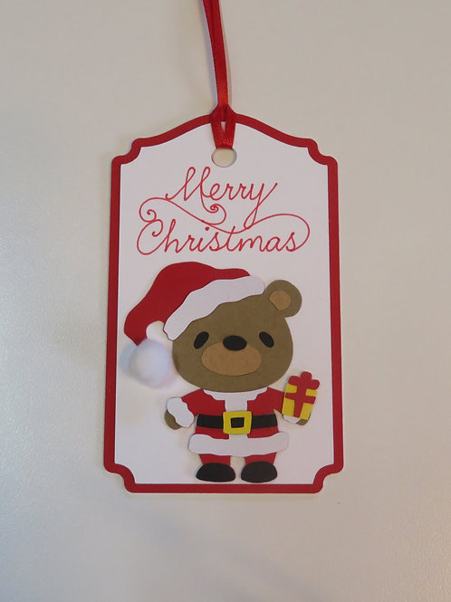 Merry Christmas Santa Bear Gift Tag