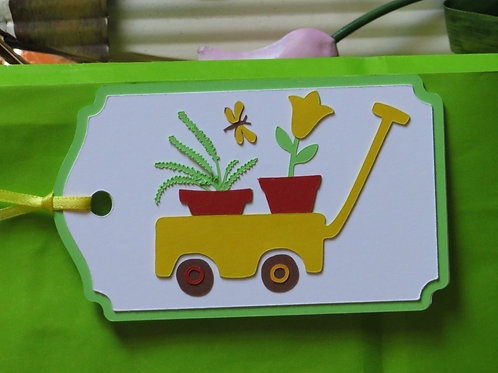 Potted Plants in Wagon Gift Tag
