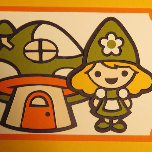 Girl Gnome with Mushroom House Gift Tag