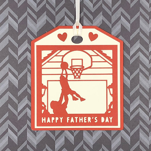 Happy Father's Day Playing Basketball Silhouette Gift Tag