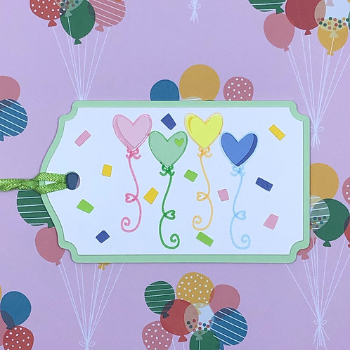 Heart Balloons and Confetti Celebration Gift Tag
