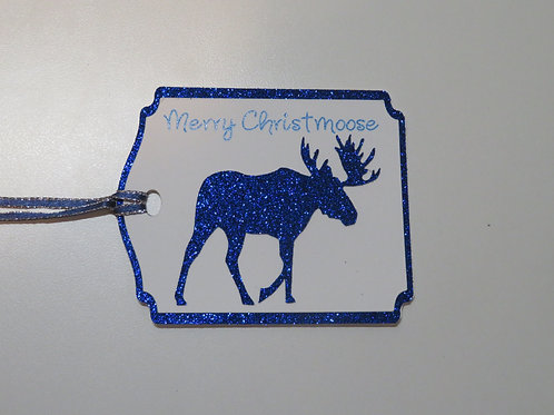 Merry Christmoose Blue Glitter Moose Gift Tag