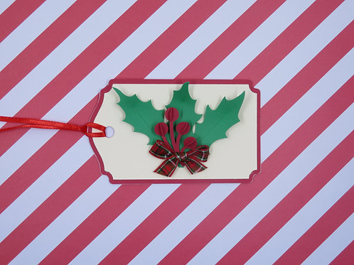 Holly Sprig with Berries and Bow Gift Tag