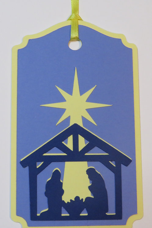 Star Shining Down on Holy Family Silhouette Gift Tag