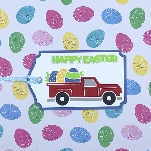 Red Truck Series Hauling Easter Eggs Gift Tag