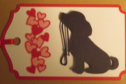 Puppy Holding His Leash Silhouette Beside a Waterfall of Hearts