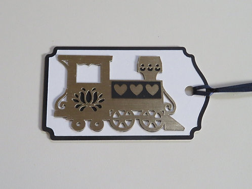 Gold and Black Train Engine Gift Tag