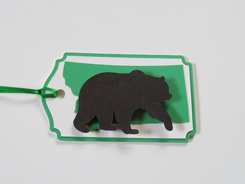 Grizzly Bear Silhouette on State of Montana Gift Tag