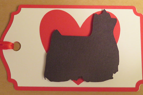 Show Yorkie Silhouette on Large Red Heart