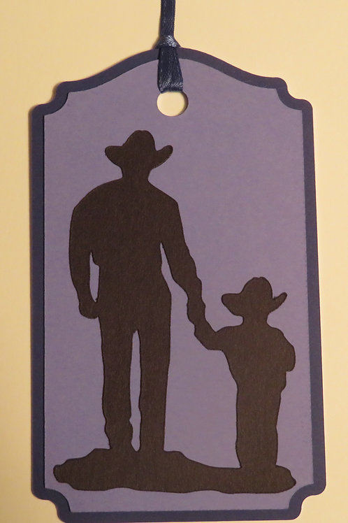 Father and Son Cowboys Silhouette Gift Tag