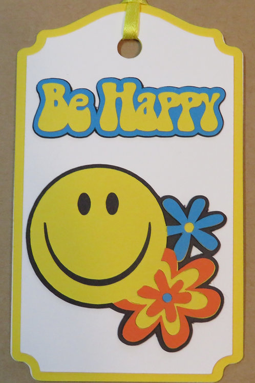 Neon Bright Be Happy Gift Tag