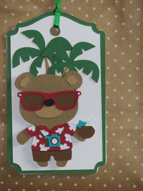 Tropical Vacation Tourist Bear Gift Tag