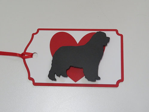 Bernese Mountain Dog Silhouette in Front of Large Red Heart