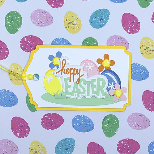 Happy Easter Eggs and Flowers Gift Tag