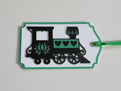 Black and Green Train Engine Gift Tag