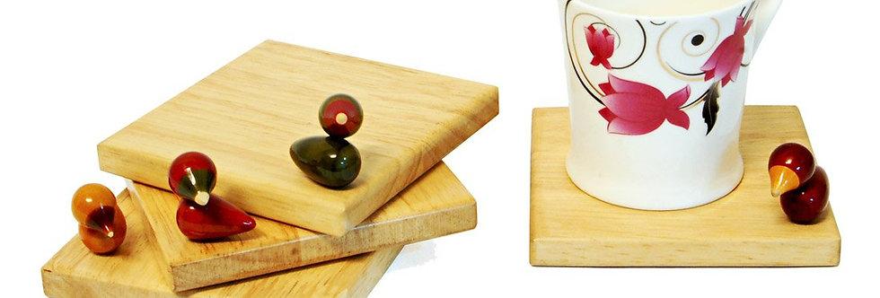 Handcrafted Wooden Coaster ( set of 4) - Bird Song
