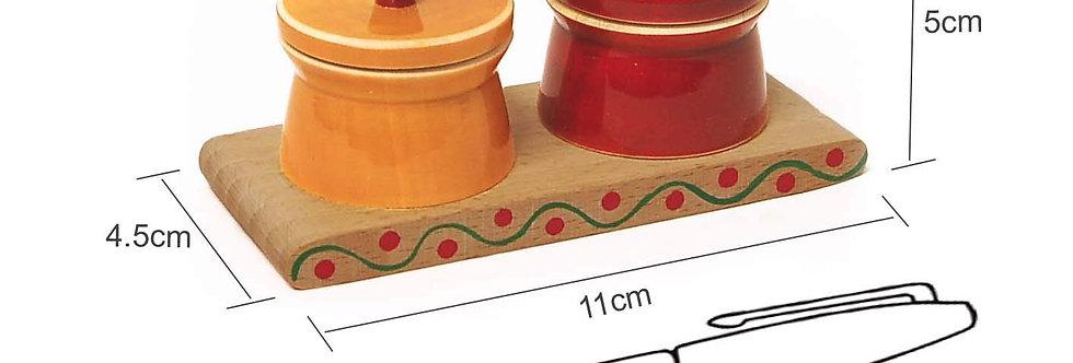 Handcrafted Wooden Pooja Article - AUM (Haldi & Kumkum Container Set)