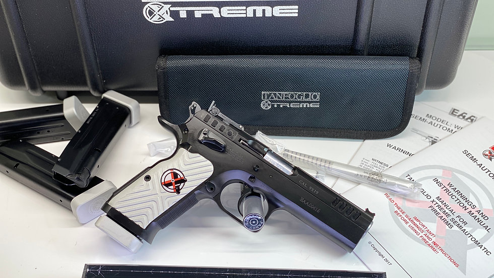 "NEW, EAA WITNESS STOCK XTREME 4.5"" Barrel 9MM, WHITE GRIP"