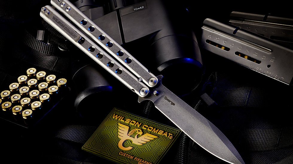WILSON COMBAT-LES GEORGE SuperFly Damascus Butterfly Knife