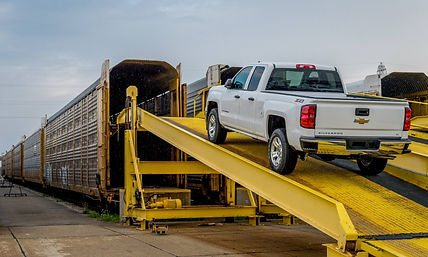 Loading vehicle in rail