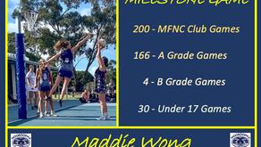 MFNC MILESTONE: 200 Club Netball Games