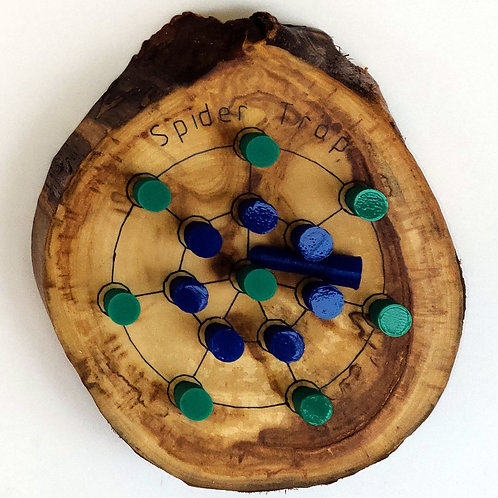 Game - Live Edge Spider Trap - Green and Blue Pegs