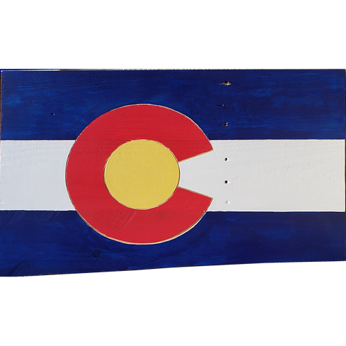 Home - Wooden Colorado flag sign