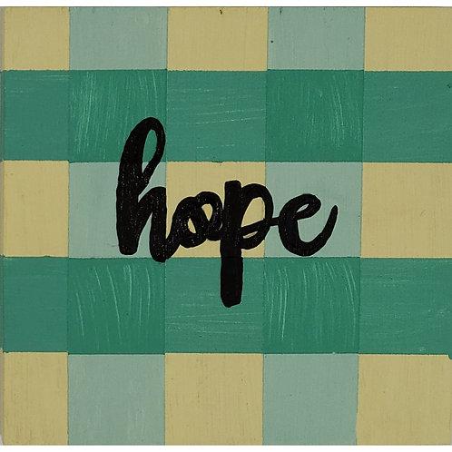 Home - Hope - Green/Blue Buffalo Plaid sign