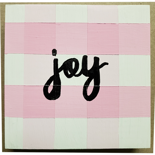 Home - Joy - Pink Buffalo Plaid sign