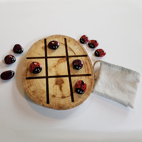 Game - Tic Tac Toe & Game of Stones - Ladybugs (Red and Purple)