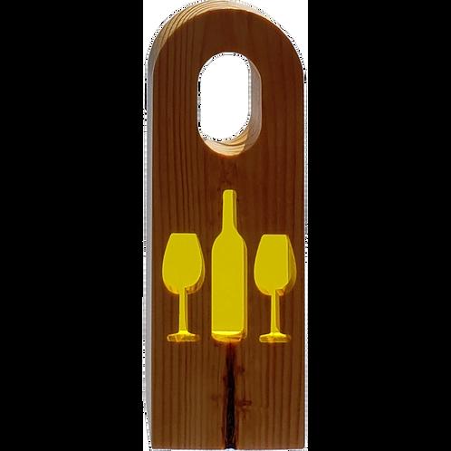 Wine Bottle Holder - Yellow Bottle & Glasses in Pine