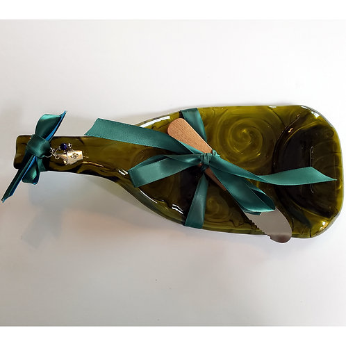 Bottles - Green swirl cheese board with ice bucket charm