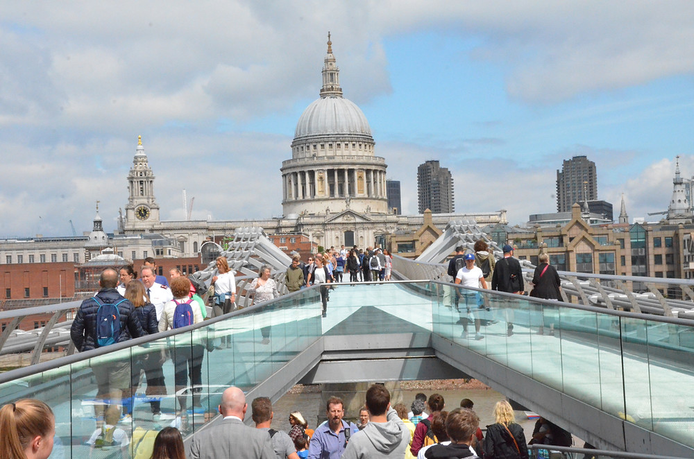 The Millennium Bridge, looking north at St. Paul's Cathedral