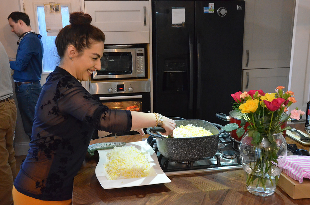 Ghazal's cousin dishes out the rice