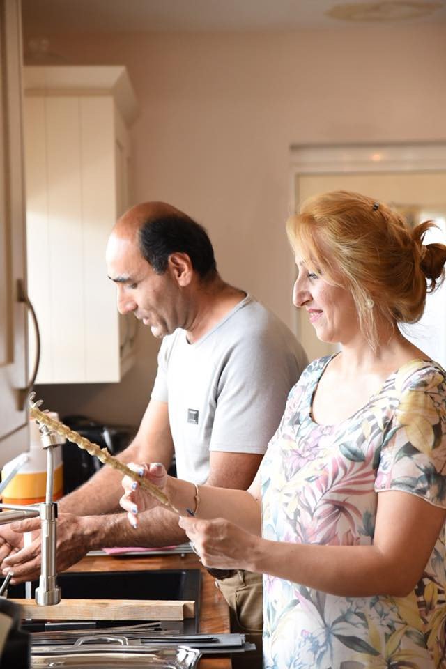 Daryoush and Suni prepare the meal (Photo credit - Photography by Zelda)
