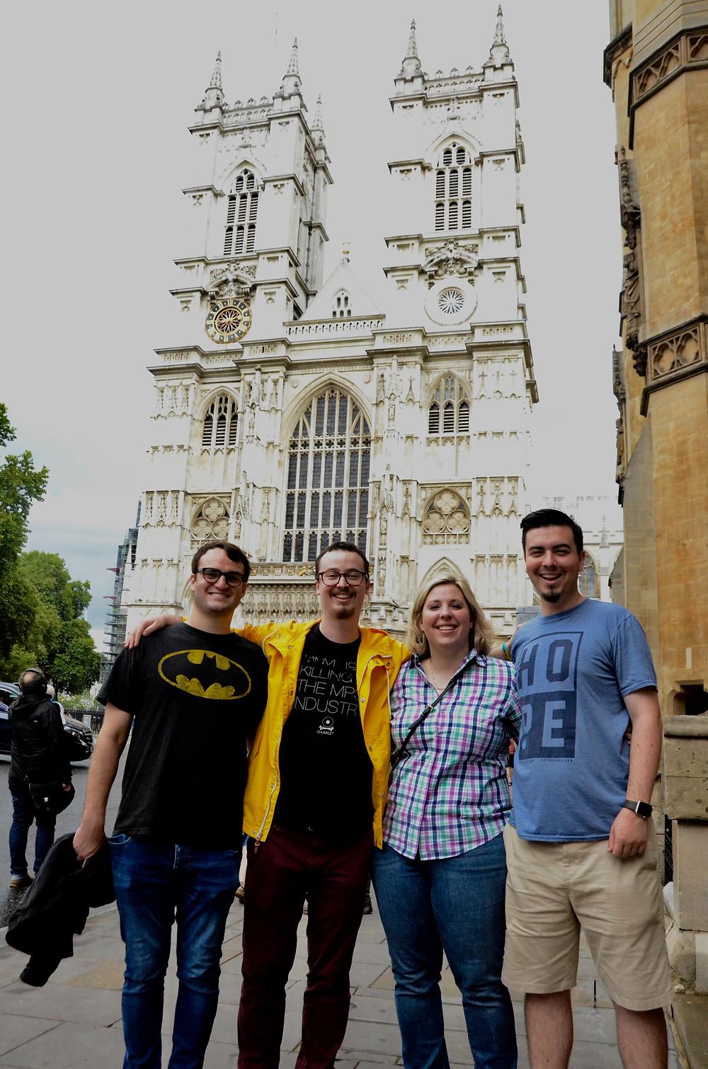 Sterling, Garrett, Sarah and Finn outside Westminster Abbey