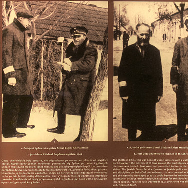 Jewish policeman and Chmielnik residents, 1942