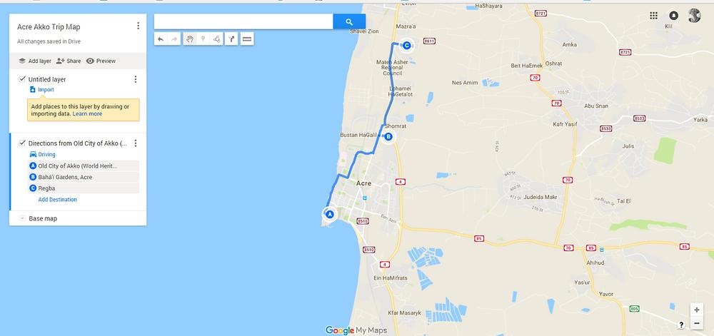Acre Akko Trip Map