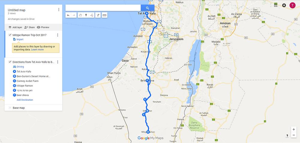 Mitzpe Ramon Trip Map