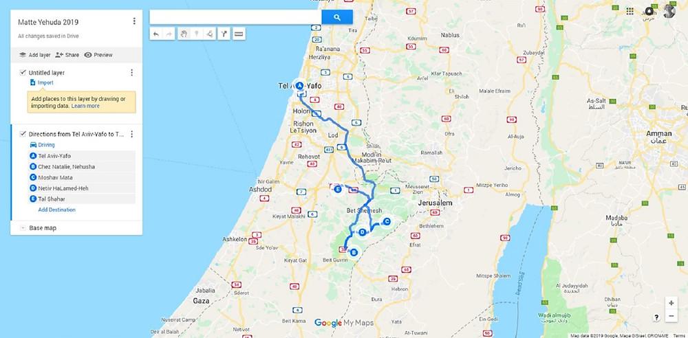 Matte Yehuda Trip Map 2019