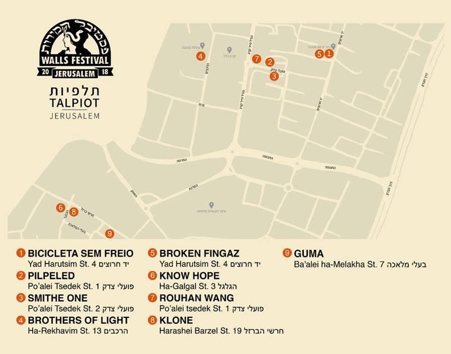 Talpiot Jerusalem Walls Festival 2018 Map