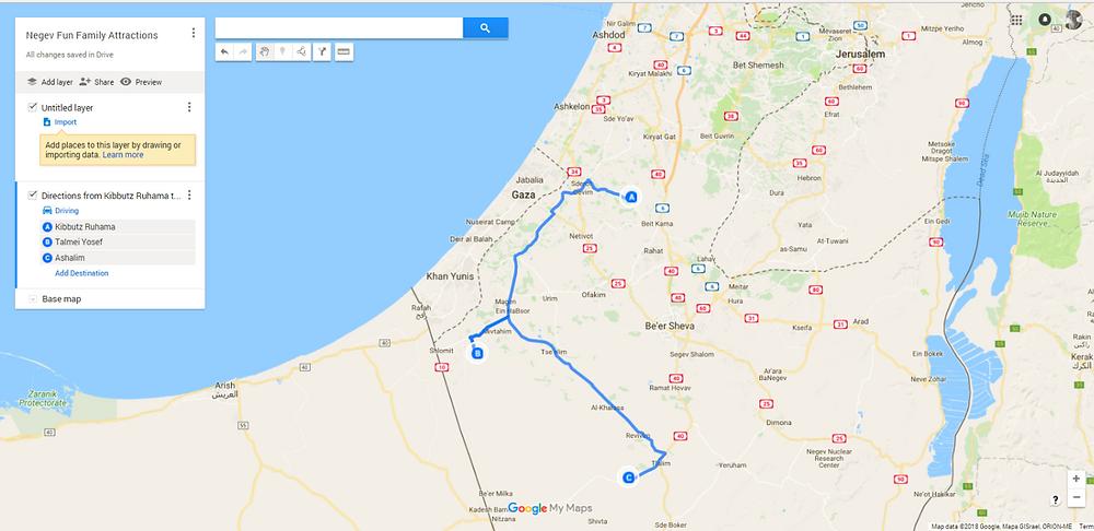 Negev Sun and Fun Trip Map