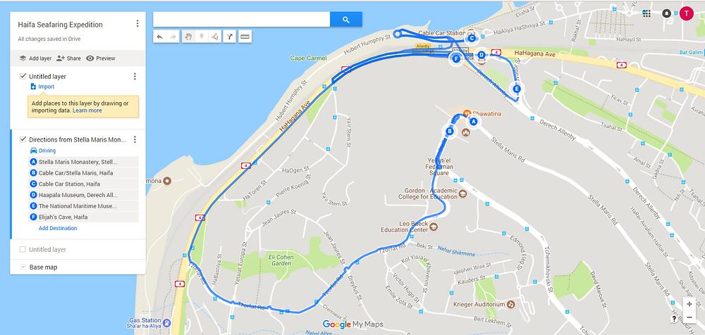 Haifa Seafaring Expedition Through Time Trip Map