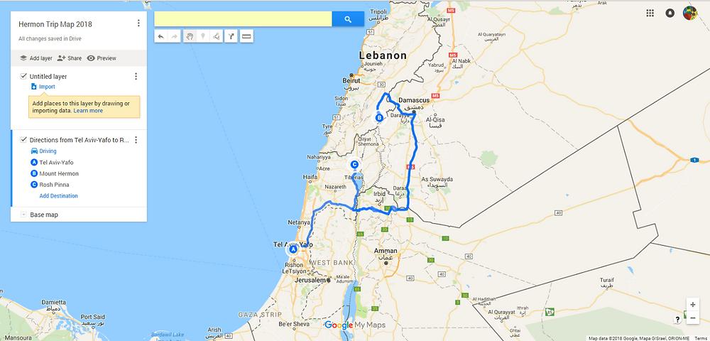 Mount Hermon Trip Map