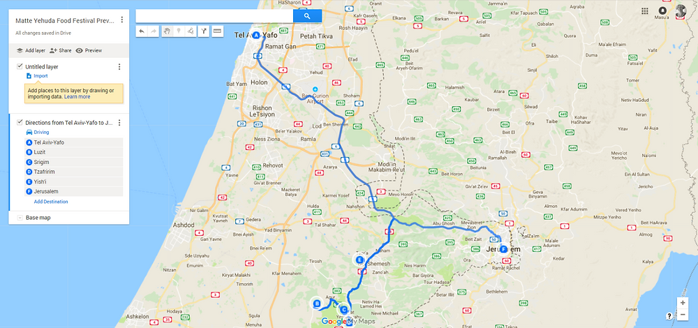 Matte Yehuda Food Festival 2018 Preview Trip Map