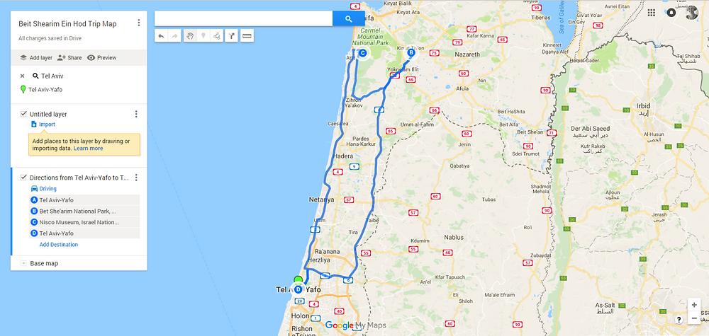 Beit Shearim and Nisco Trip Map