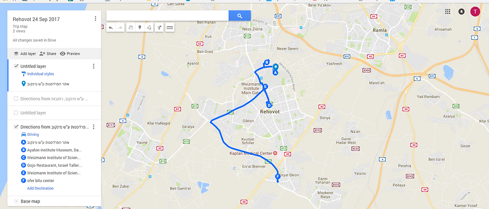 Rehovot Trip Map