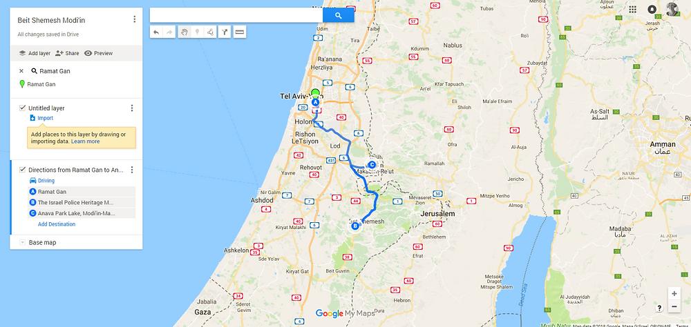 Beit Shemesh Modi'in Trip Map